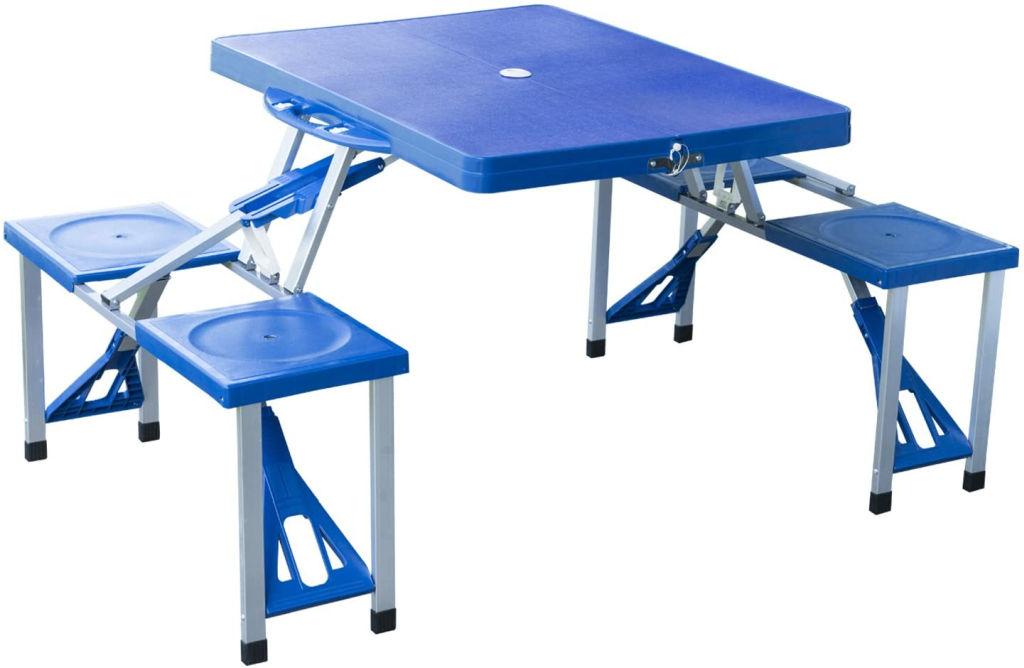 mesas plegables con sillas dentro